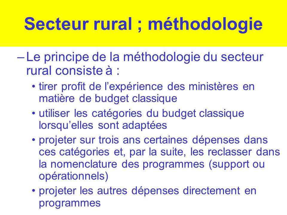 Secteur rural ; méthodologie