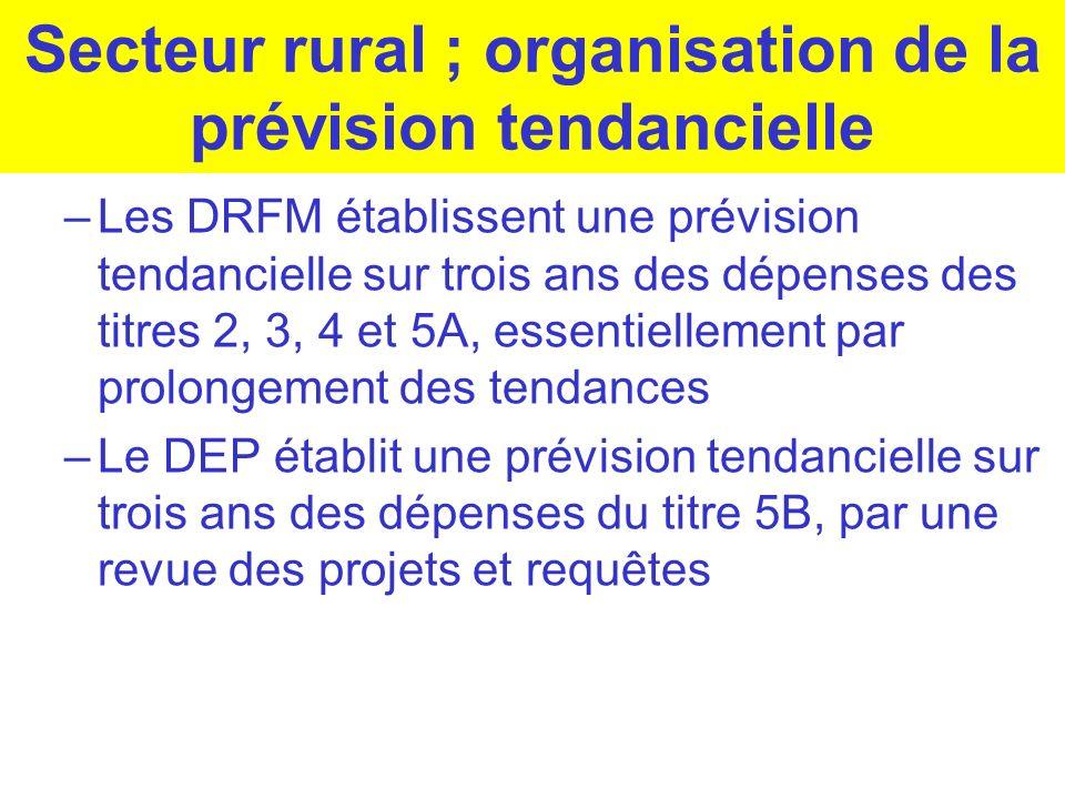 Secteur rural ; organisation de la prévision tendancielle