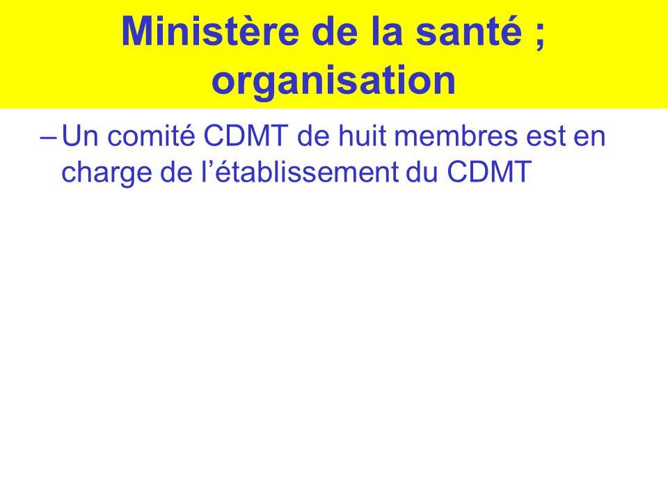 Ministère de la santé ; organisation