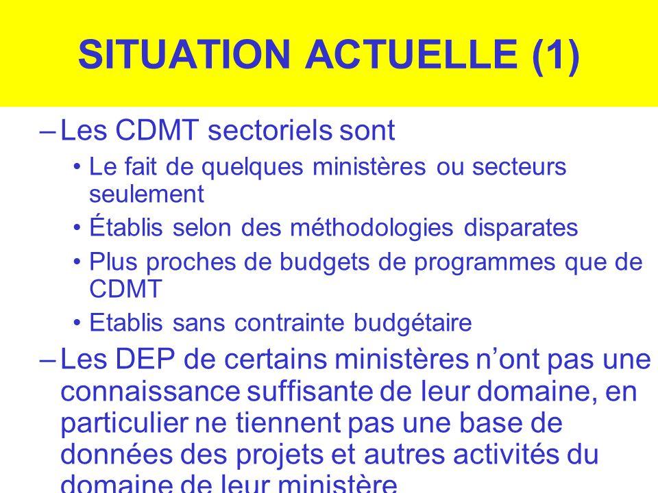 SITUATION ACTUELLE (1) Les CDMT sectoriels sont