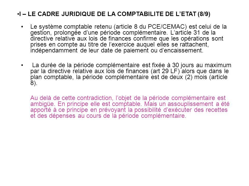 I – LE CADRE JURIDIQUE DE LA COMPTABILITE DE L'ETAT (8/9)