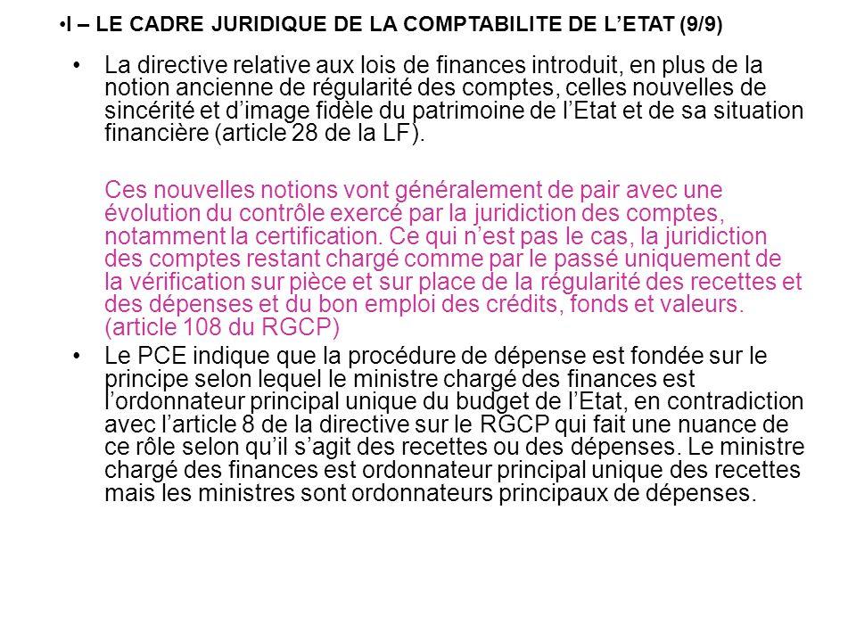 I – LE CADRE JURIDIQUE DE LA COMPTABILITE DE L'ETAT (9/9)