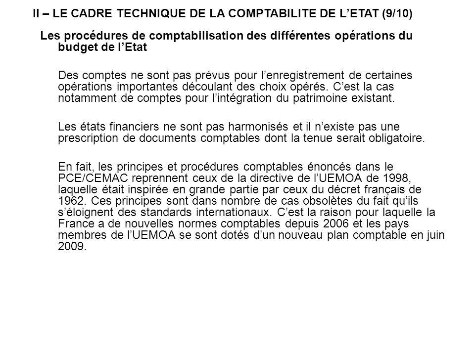 II – LE CADRE TECHNIQUE DE LA COMPTABILITE DE L'ETAT (9/10)