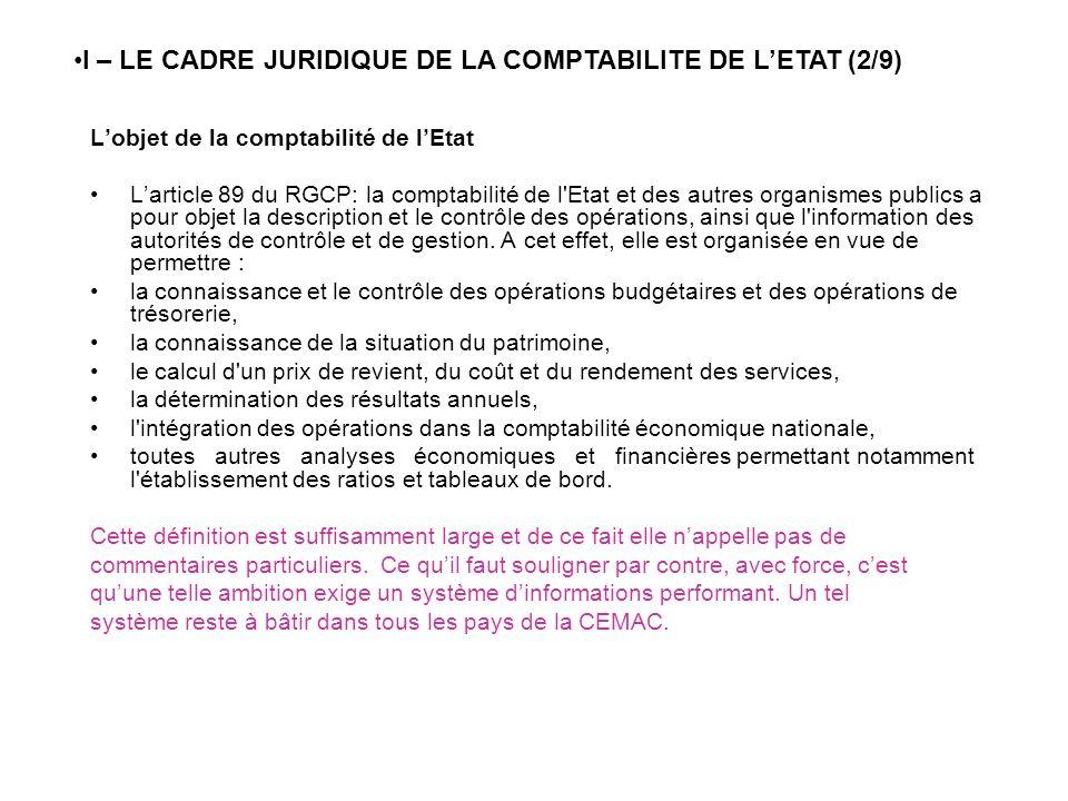 I – LE CADRE JURIDIQUE DE LA COMPTABILITE DE L'ETAT (2/9)