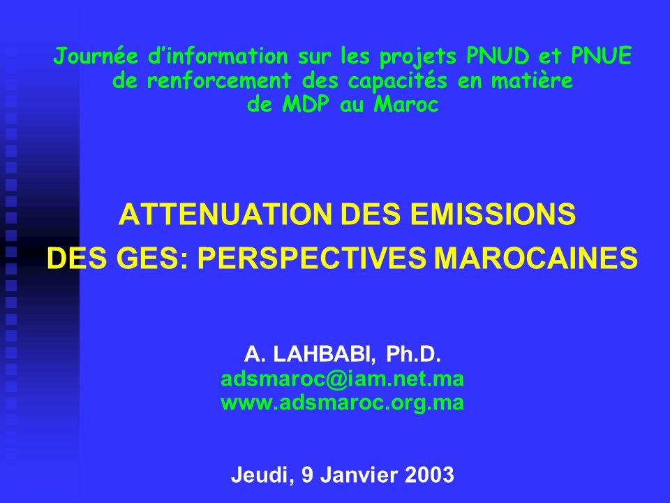Journée d'information sur les projets PNUD et PNUE de renforcement des capacités en matière de MDP au Maroc ATTENUATION DES EMISSIONS DES GES: PERSPECTIVES MAROCAINES A.