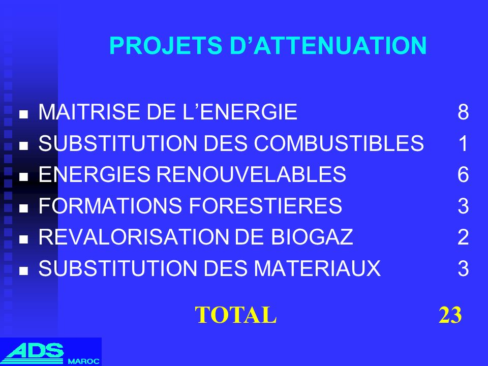 PROJETS D'ATTENUATION
