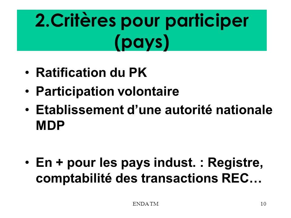 2.Critères pour participer (pays)