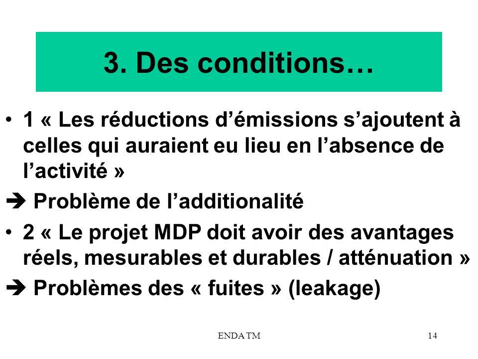3. Des conditions… 1 « Les réductions d'émissions s'ajoutent à celles qui auraient eu lieu en l'absence de l'activité »