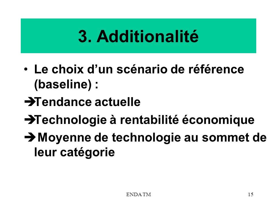 3. Additionalité Le choix d'un scénario de référence (baseline) :