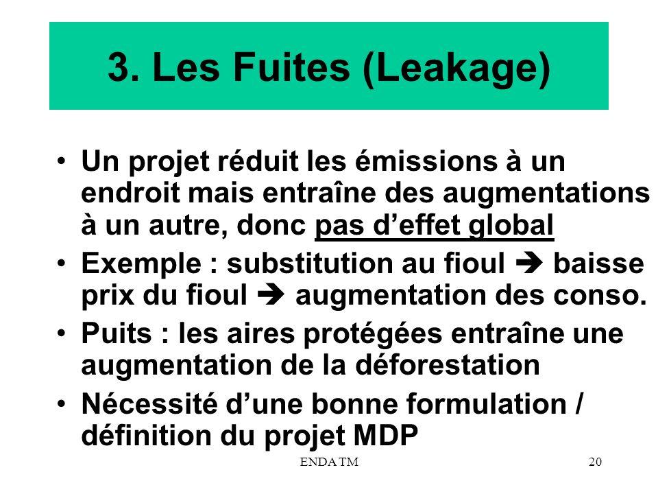 3. Les Fuites (Leakage) Un projet réduit les émissions à un endroit mais entraîne des augmentations à un autre, donc pas d'effet global.