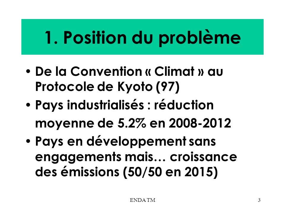 1. Position du problème De la Convention « Climat » au Protocole de Kyoto (97) Pays industrialisés : réduction.