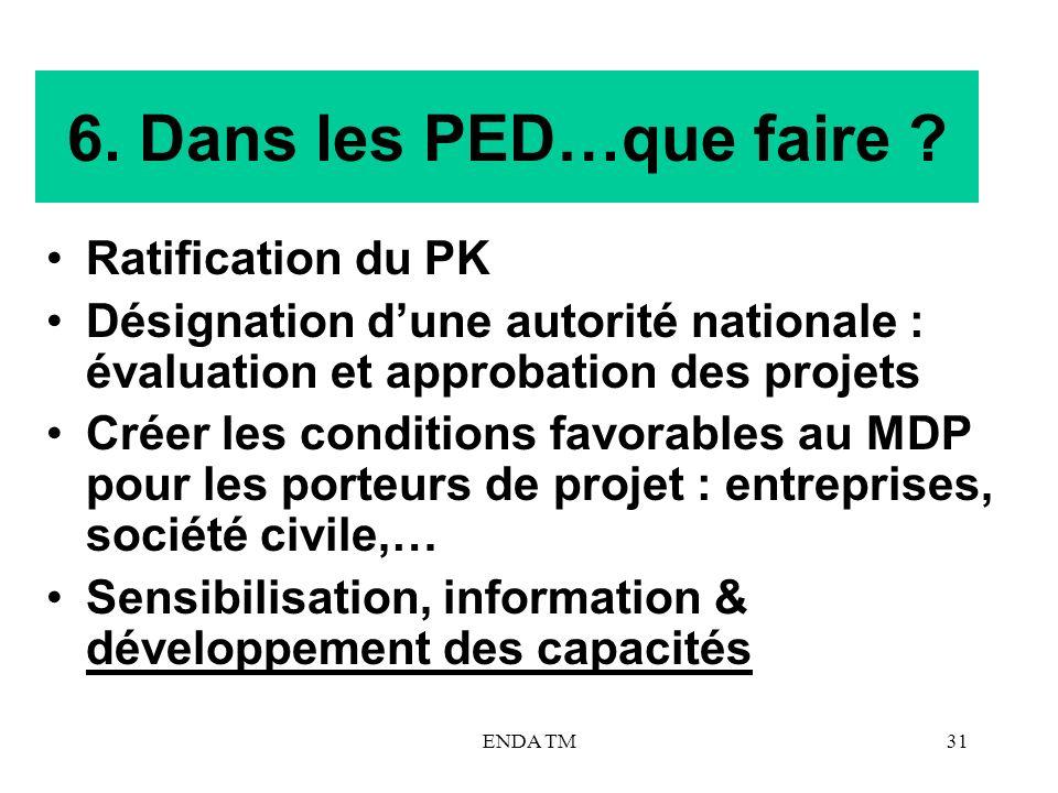 6. Dans les PED…que faire Ratification du PK