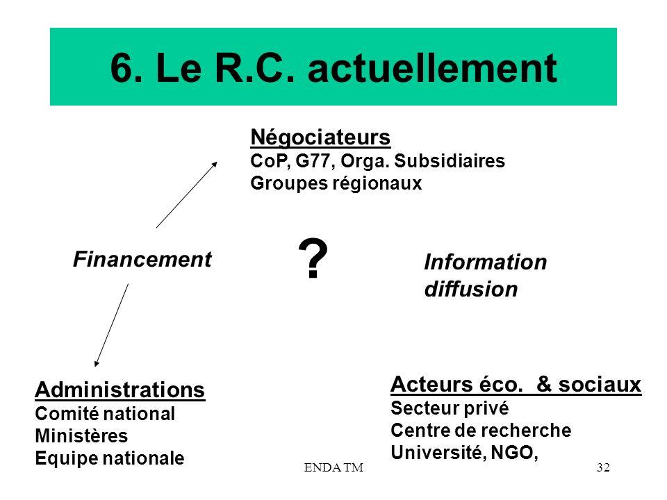 6. Le R.C. actuellement Négociateurs Financement