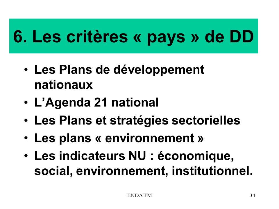 6. Les critères « pays » de DD
