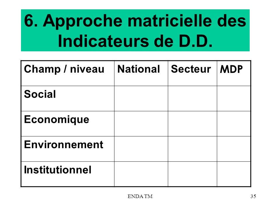 6. Approche matricielle des Indicateurs de D.D.