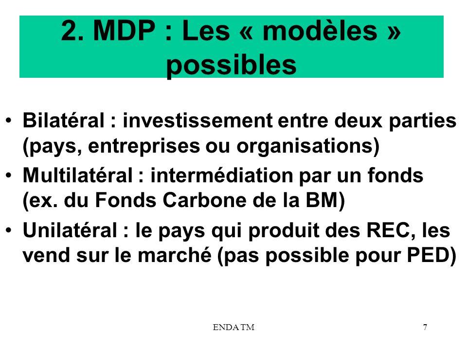2. MDP : Les « modèles » possibles