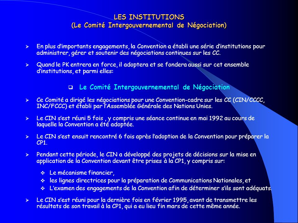 LES INSTITUTIONS (Le Comité Intergouvernemental de Négociation)