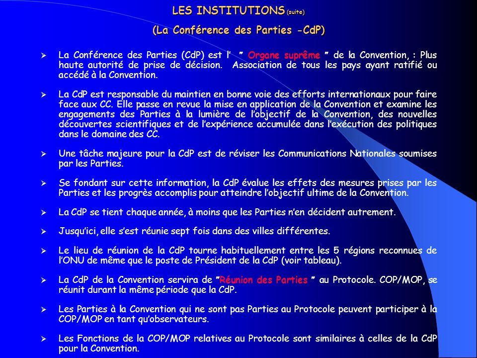 LES INSTITUTIONS (suite) (La Conférence des Parties -CdP)