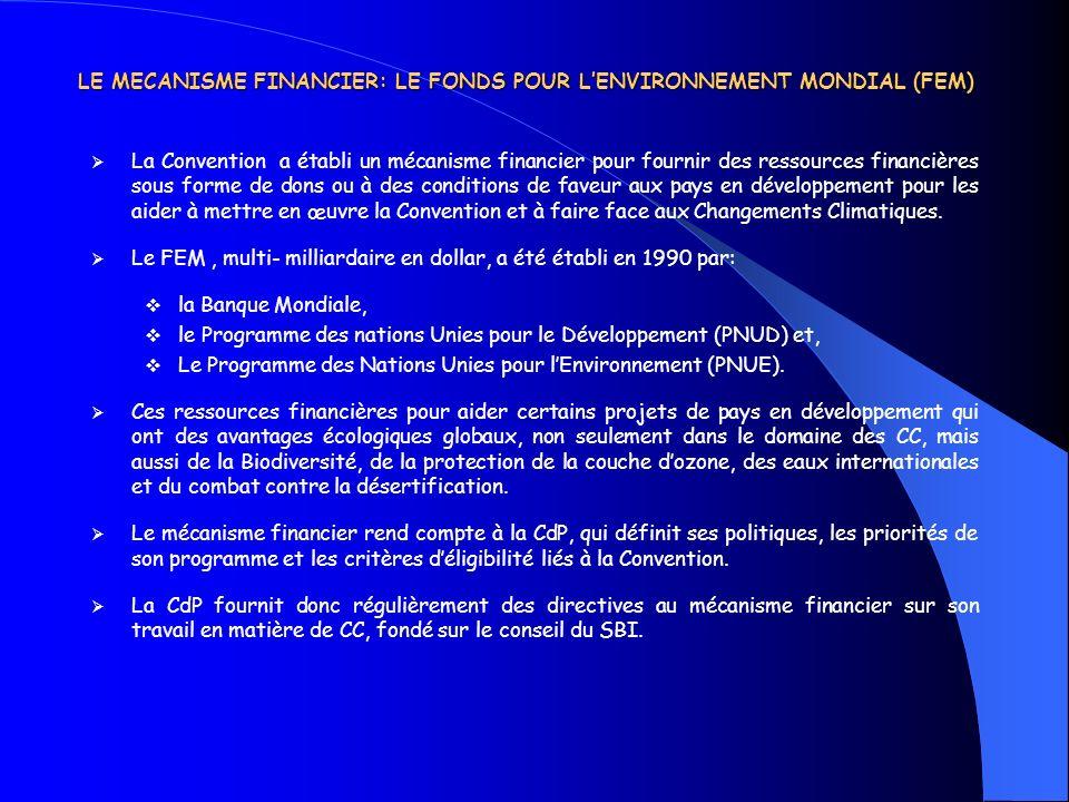 LE MECANISME FINANCIER: LE FONDS POUR L'ENVIRONNEMENT MONDIAL (FEM)