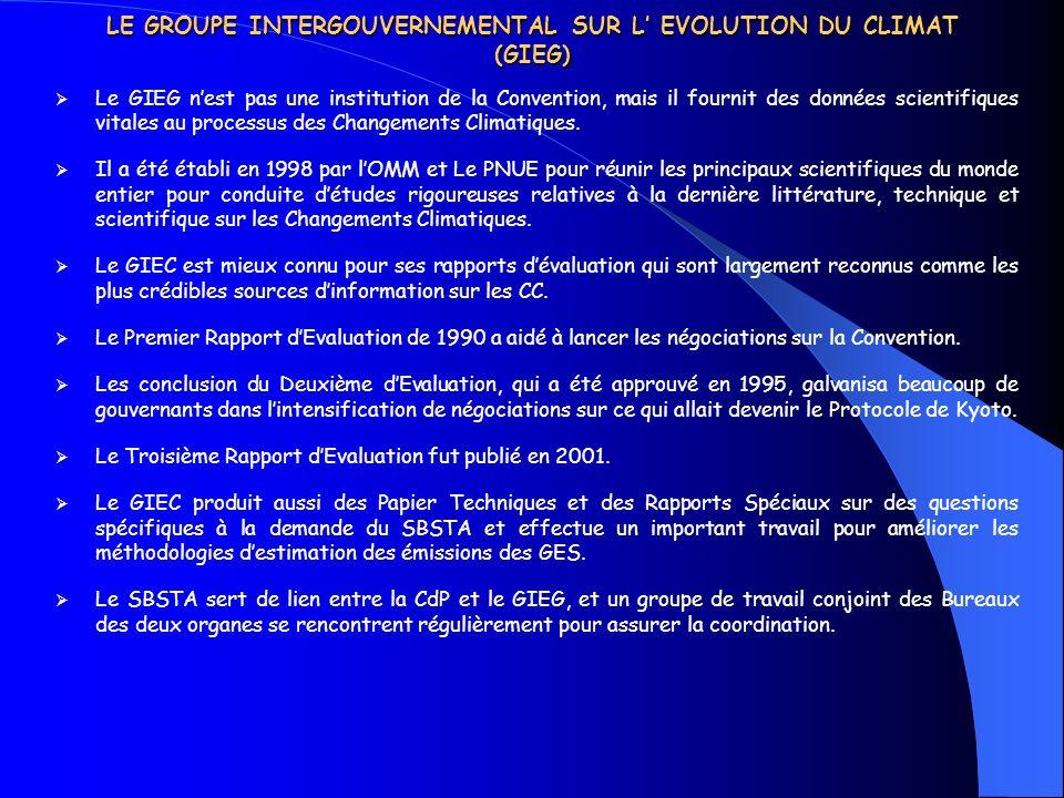 LE GROUPE INTERGOUVERNEMENTAL SUR L' EVOLUTION DU CLIMAT (GIEG)