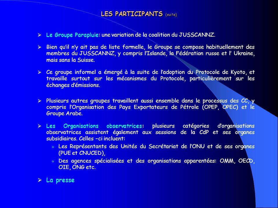 LES PARTICIPANTS (suite)