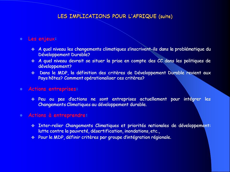 LES IMPLICATIONS POUR L'AFRIQUE (suite)