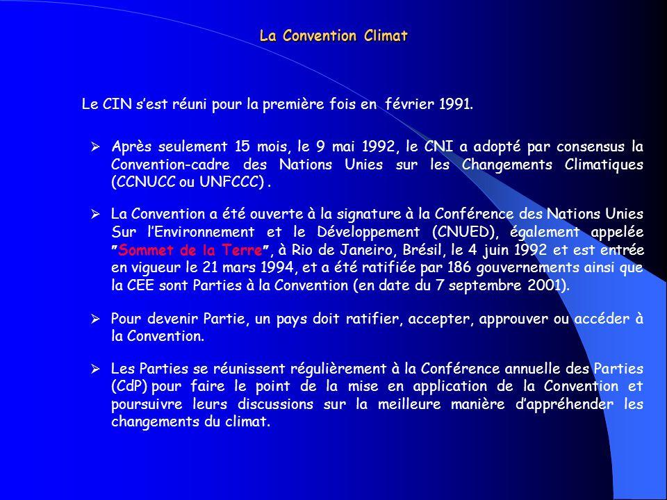 La Convention Climat Le CIN s'est réuni pour la première fois en février 1991.