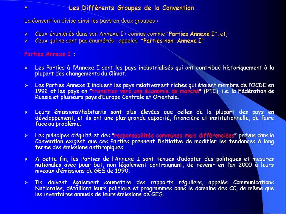 Les Différents Groupes de la Convention La Convention divise ainsi les pays en deux groupes : v Ceux énumérés dans son Annexe I : connus comme Parties Annexe I, et, v Ceux qui ne sont pas énumérés : appelés Parties non-Annexe I