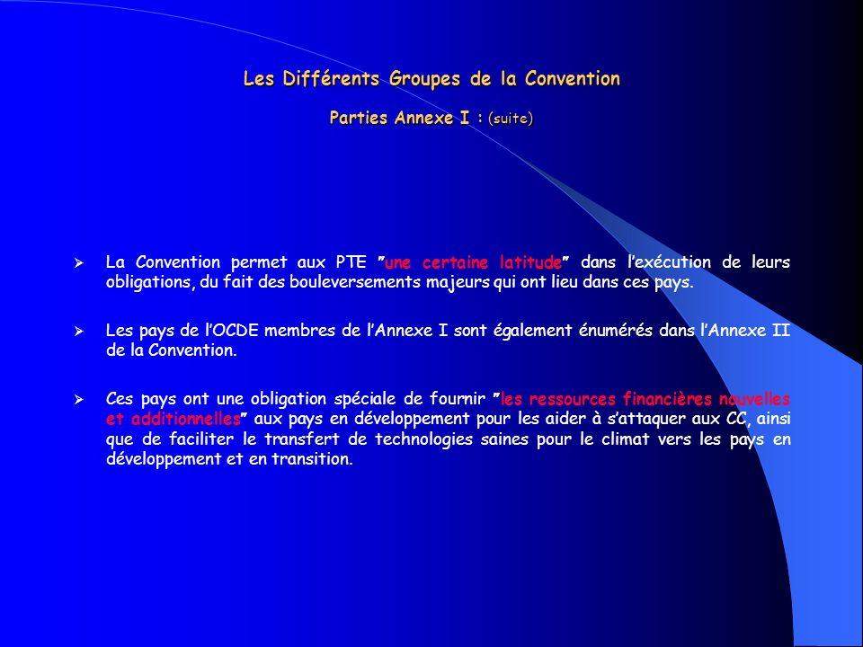 Les Différents Groupes de la Convention Parties Annexe I : (suite)