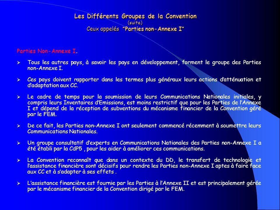 Les Différents Groupes de la Convention (suite) Ceux appelés Parties non-Annexe I