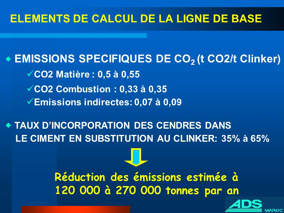 ELEMENTS DE CALCUL DE LA LIGNE DE BASE