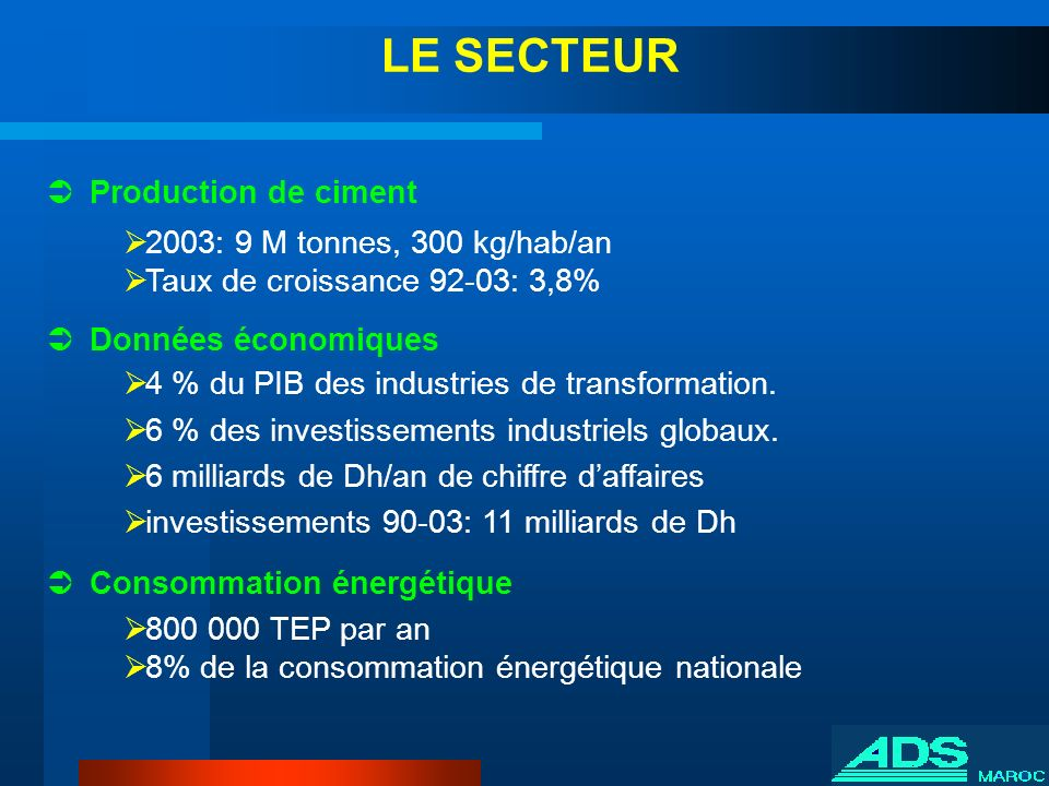 LE SECTEUR Production de ciment 2003: 9 M tonnes, 300 kg/hab/an