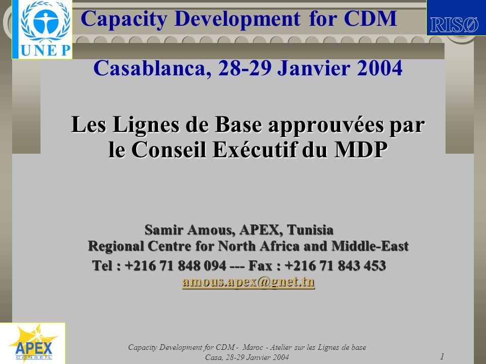 Les Lignes de Base approuvées par le Conseil Exécutif du MDP