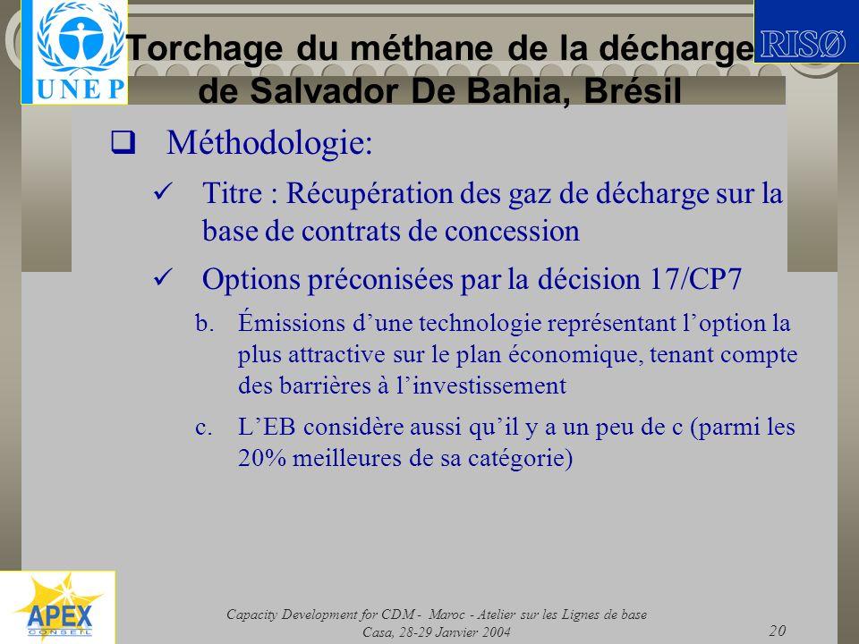 Torchage du méthane de la décharge de Salvador De Bahia, Brésil
