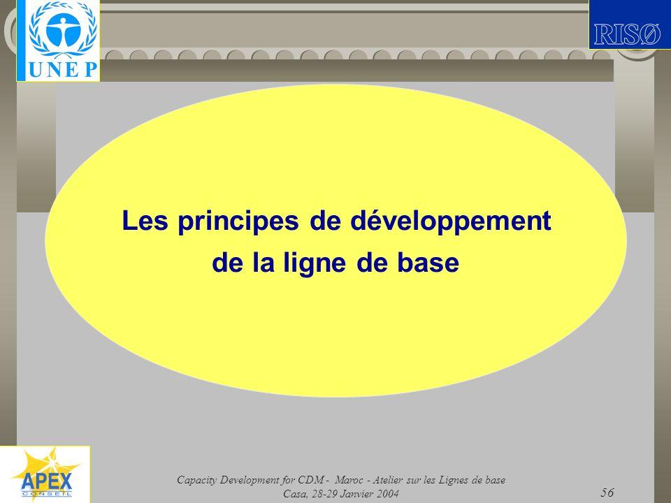 Les principes de développement de la ligne de base