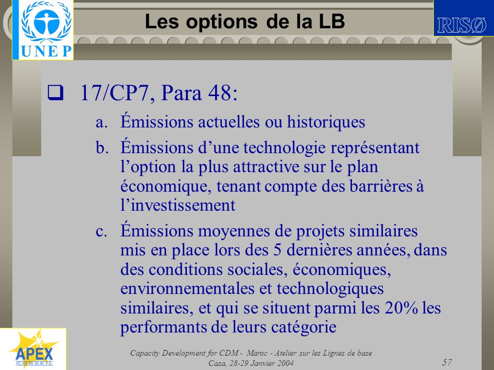 17/CP7, Para 48: Les options de la LB