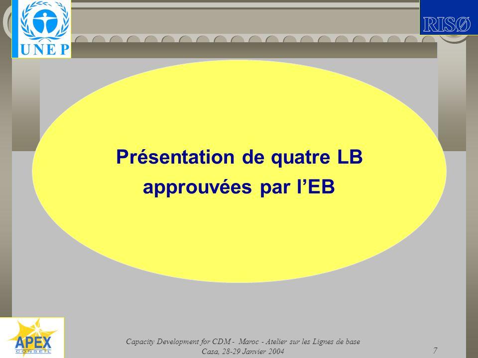 Présentation de quatre LB approuvées par l'EB