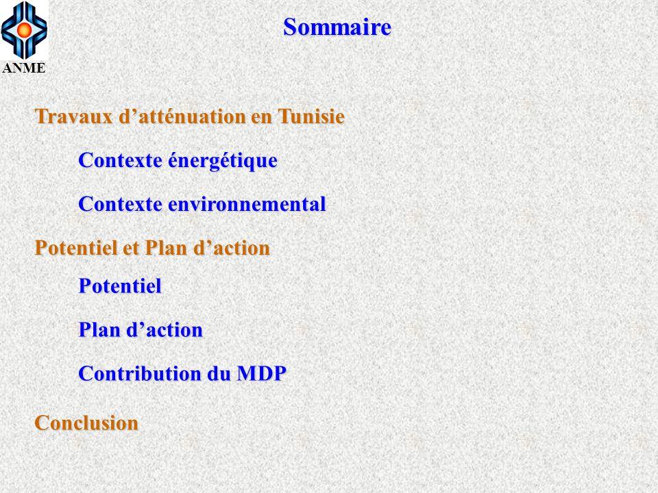 Sommaire Travaux d'atténuation en Tunisie Contexte énergétique