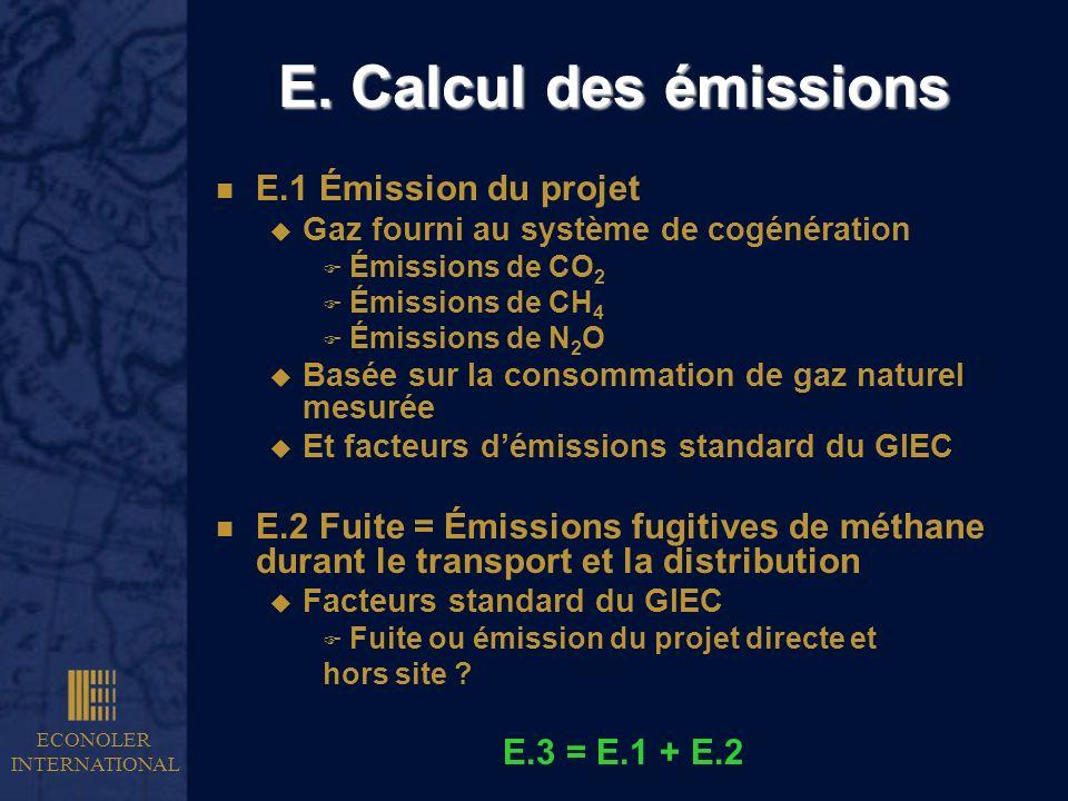 E. Calcul des émissions E.1 Émission du projet
