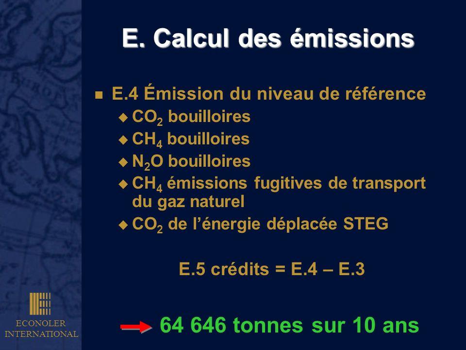 E. Calcul des émissions 64 646 tonnes sur 10 ans