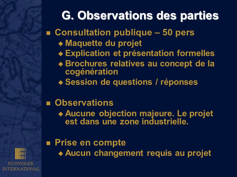 G. Observations des parties