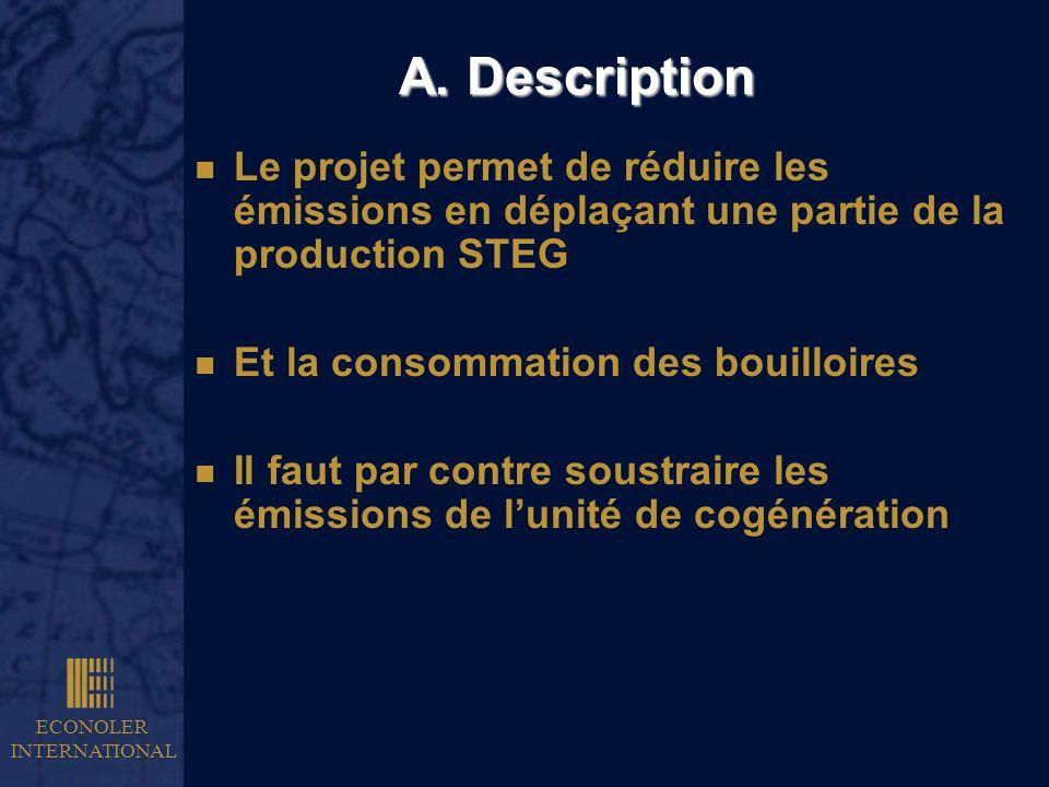 A. DescriptionLe projet permet de réduire les émissions en déplaçant une partie de la production STEG.