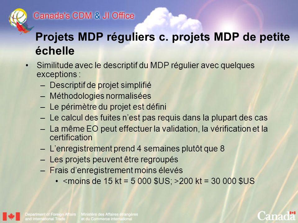 Projets MDP réguliers c. projets MDP de petite échelle