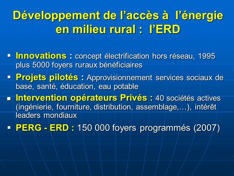 Développement de l'accès à l'énergie en milieu rural : l'ERD