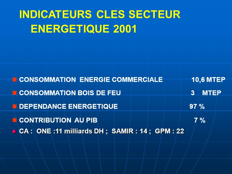 INDICATEURS CLES SECTEUR ENERGETIQUE 2001
