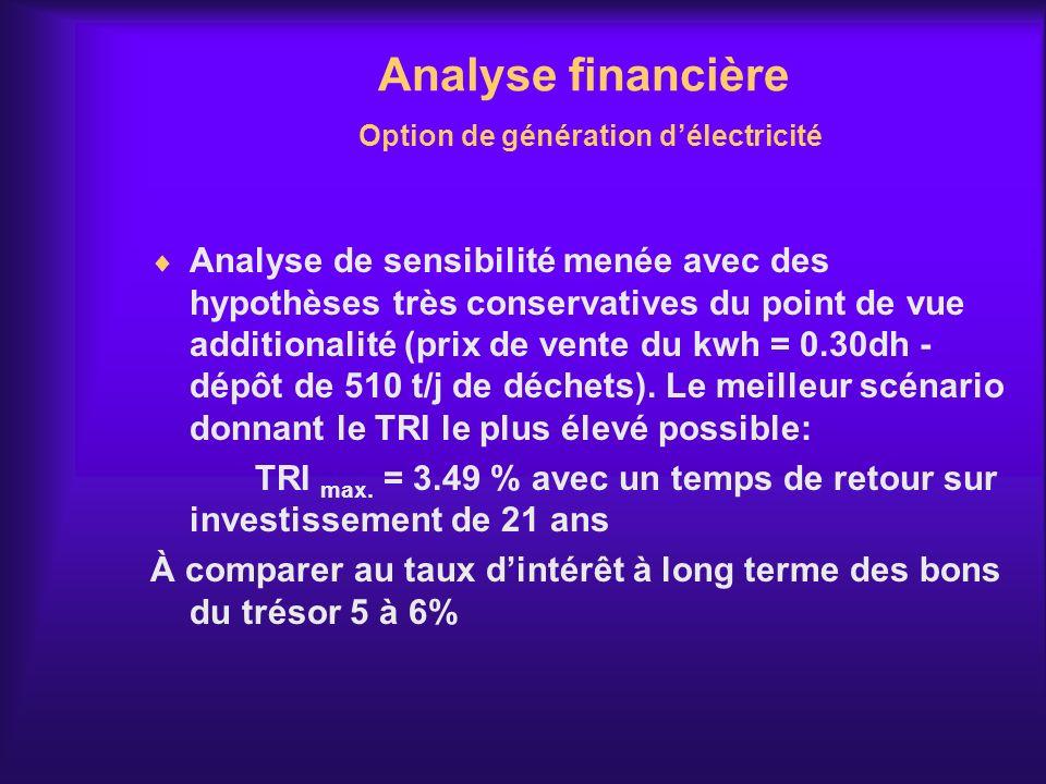 Analyse financière Option de génération d'électricité