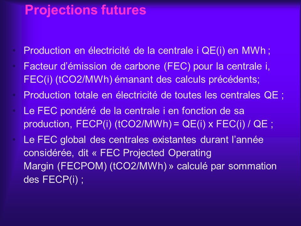 Projections futures Production en électricité de la centrale i QE(i) en MWh ;