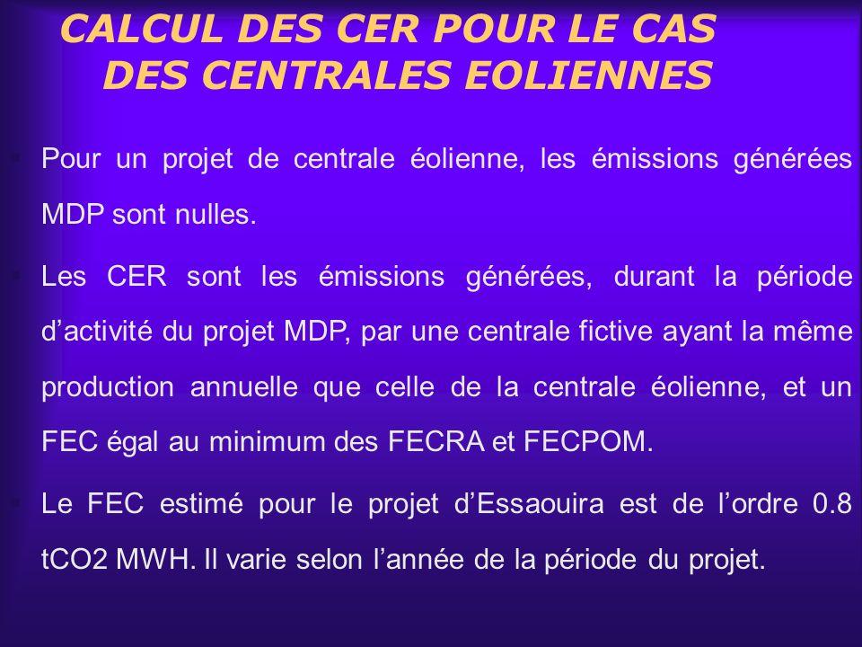 CALCUL DES CER POUR LE CAS DES CENTRALES EOLIENNES
