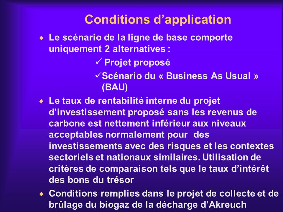 Conditions d'application
