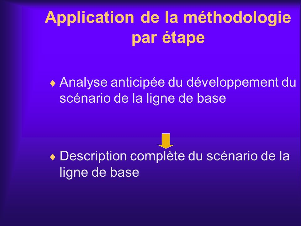 Application de la méthodologie par étape